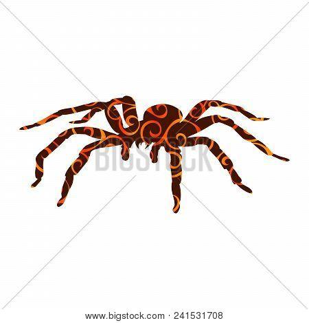 Spider Monster Pattern Silhouette Ancient Mythology Fantasy. Vector Illustration.