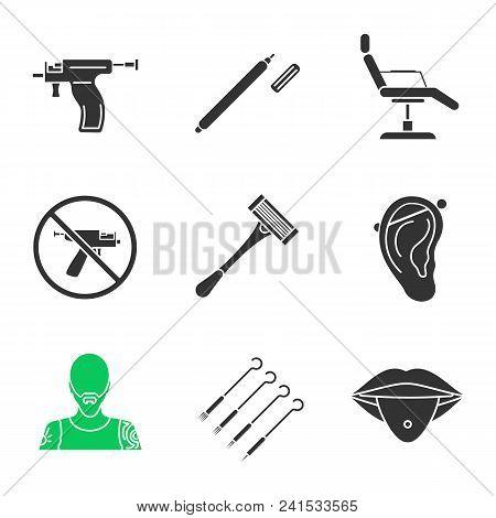 Tattoo Studio Glyph Icons Set. Highlighter, Tattoo Chair, Piercing Gun Prohibition, Razor, Pierced E