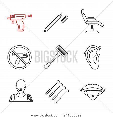 Tattoo Studio Linear Icons Set. Highlighter, Tattoo Chair, Piercing Gun Prohibition, Razor, Pierced