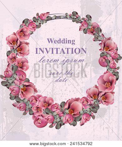 Wedding Invitation Wreath Vector. Beautiful Round Floral Frame Decor. 3d Background