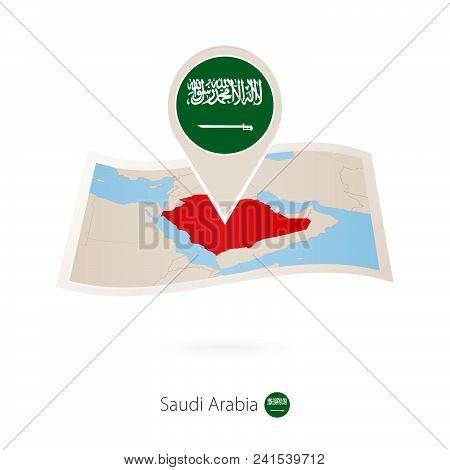 Folded Paper Map Of Saudi Arabia With Flag Pin Of Saudi Arabia. Vector Illustration