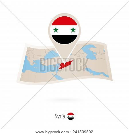 Folded Paper Map Of Syria With Flag Pin Of Syria. Vector Illustration