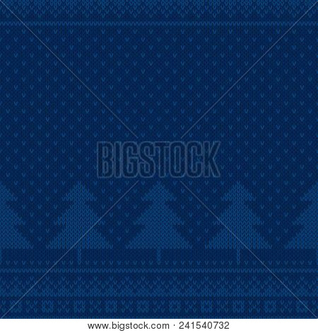 Winter Holiday Seamless Knit Pattern With Christmas Trees. Scheme For Knitted Sweater Pattern Design