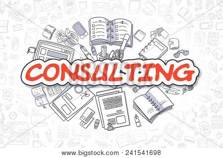 Cartoon Illustration Of Consulting, Surrounded By Stationery. Business Concept For Web Banners, Prin