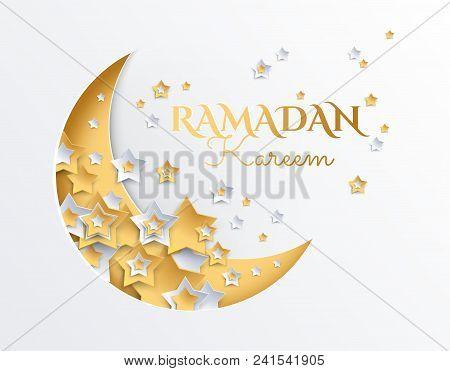 Ramadan Kareem golden and platinum crescent moon and stars background - ramadan eid mubarak vector illustration poster