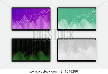 Business Data Graph Charts And Diagram On Black Tablet Screen, Vector Illustration. Trend Lines, Wav
