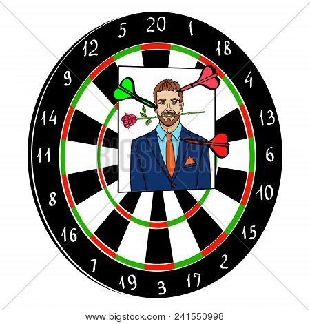 Object Isolated On White Background. Playing Darts With A Photo Of A Man, An Ex-boyfriend Vector