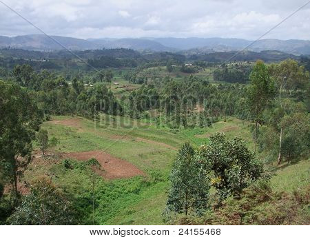 Virunga Mountains And Clouded Sky