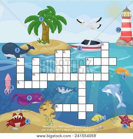 Crossword Kids Magazine Book Puzzle Game Of Sea Underwater Ocean Fish And Animals Logical Crossword