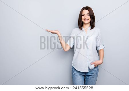 Portrait Of Stylish, Nice, Cute, Modern Woman In Denim, Casual Outfit Having Empty Place, Copy Space