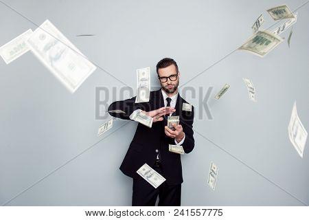 Spectacles Jackpot Entrepreneur Economist Banker Chic Posh Manager Jacket Concept. Handsome Confiden