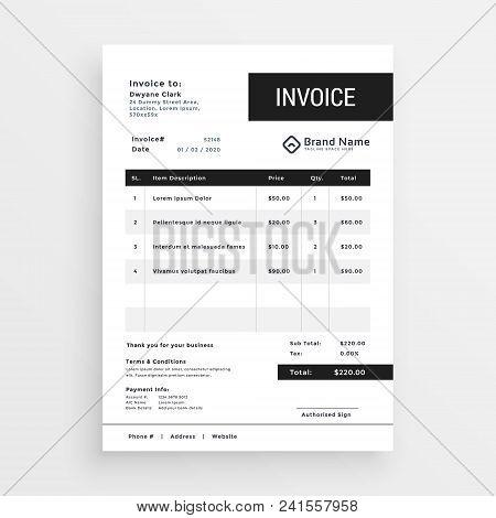 Clean Invoice Template Modern Design Vector Illustration