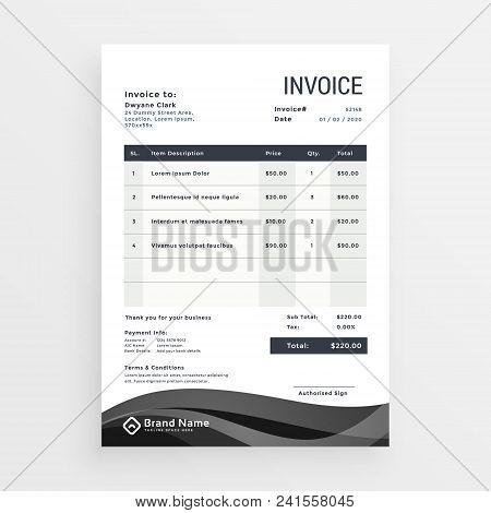Invoice Template Modern Creative Design Vector Illustration