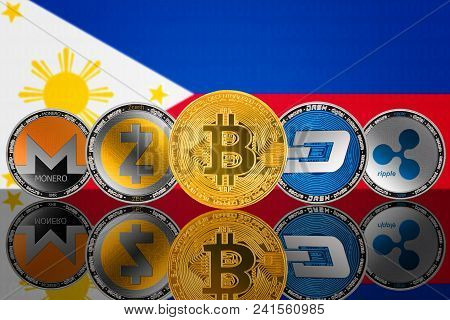 Cryptocurrency Coins On The Background Of The Flag Of Philippines. Bitcoin (btc), Monero (xmr), Zcas