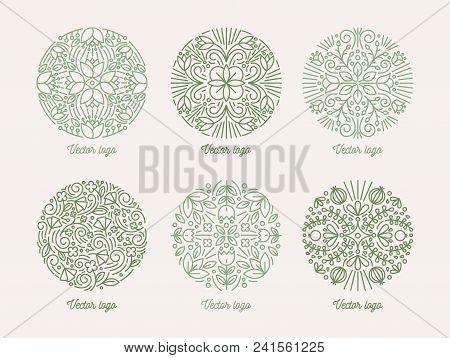 Collection Of Round Floral Oriental Motifs. Set Of Green Arabic Mandalas. Bundle Of Elegant Decorati