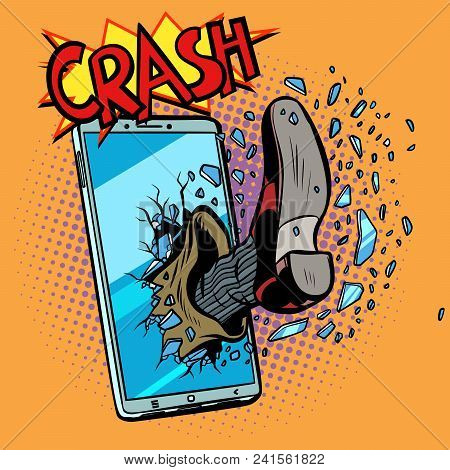 Hacking A Mobile Phone Device. Pop Art Retro Vector Illustration Comic Cartoon Kitsch Drawing