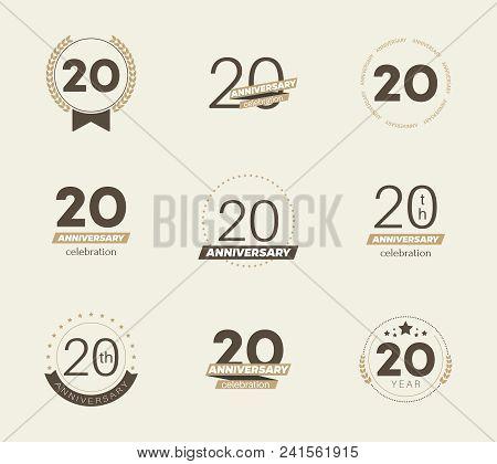 20 Years Anniversary Logo Set. 20th Anniversary Icons. Vector Illustration.