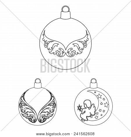 Balls For Decoration Outline Icons In Set Collection For Design.christmas Balls Vector Symbol Stock