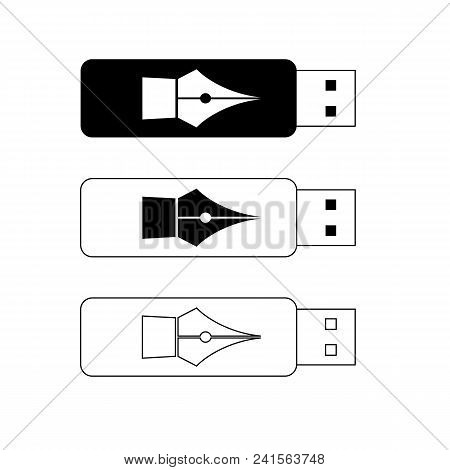 Usb Flash Drives, Portable Data Storage. With Pen Sign On Case - Digital Signature Concept. Black An