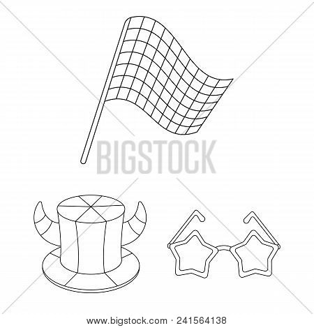 Fan And Attributes Outline Icons In Set Collection For Design. Sports Fan Vector Symbol Stock  Illus
