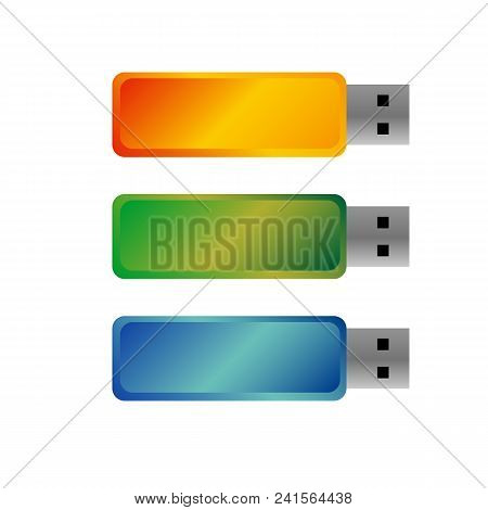 Usb Flash Drives, Colored Portable Data Storage. Vector Templates For Mock Ups, With Free Space For