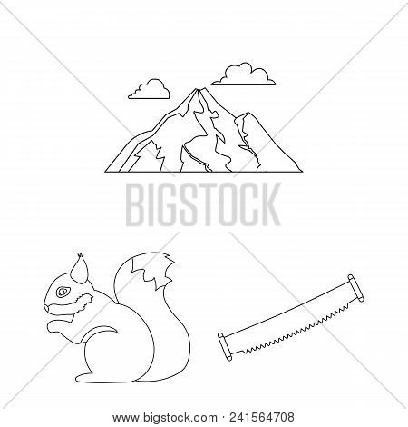 Forest And Nature Outline Icons In Set Collection For Design. Forest Life Vector Symbol Stock  Illus