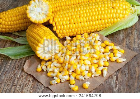 Sweet Corn Grains With Ripe Ears Of Corn, Isolated On Wooden Table. Closeup