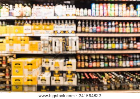Abstract Blurred Various Beers At Grocery Store