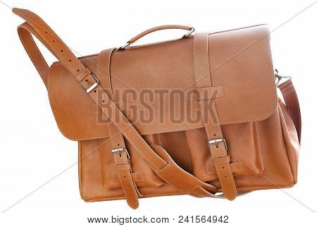 Brown Leather Briefcase Bags For Men Isolated On White