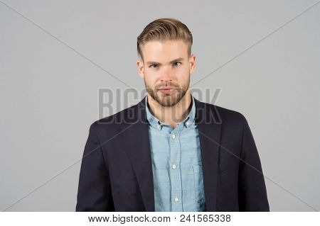 Man With Stylish Hair In Formal Suit. Businessman With Beard And Mustache On Unshaven Face. Business