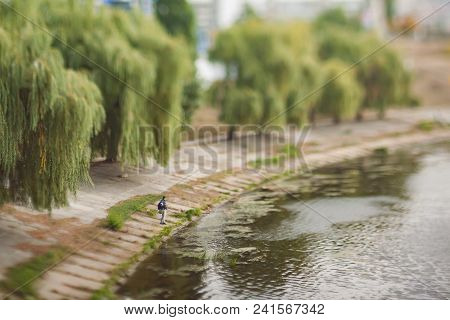 The Man Is Fishing On The Canal. Soft And Blurry Cityscape. Natural Optical Tilt Shift Photo.
