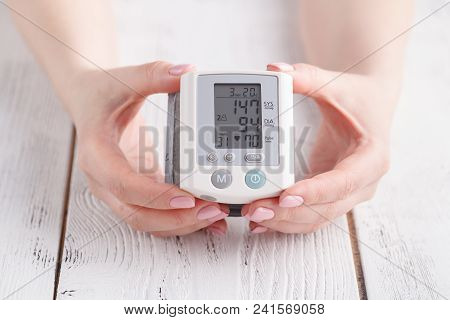 Instrument For Measuring Blood Pressure. The Display Shows The High Blood Pressure