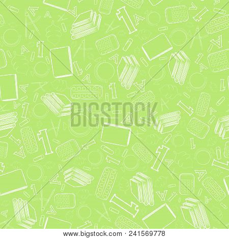 Seamless Pattern With Outlined White School Items Placed On The Bright Green Background. School Item