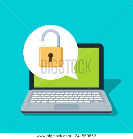 Open Lock On A Laptop Background. Concept Of The Security Of Personal Information And Data. Password