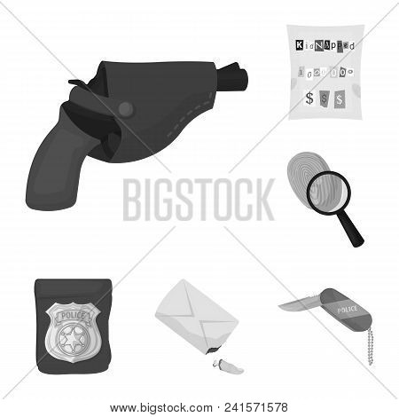 Detective Agency Monochrome Icons In Set Collection For Design. Crime And Investigation Vector Symbo