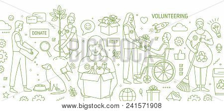 Horizontal Banner With Smiling Young Men And Women Volunteering Or Doing Volunteer Work Drawn With G