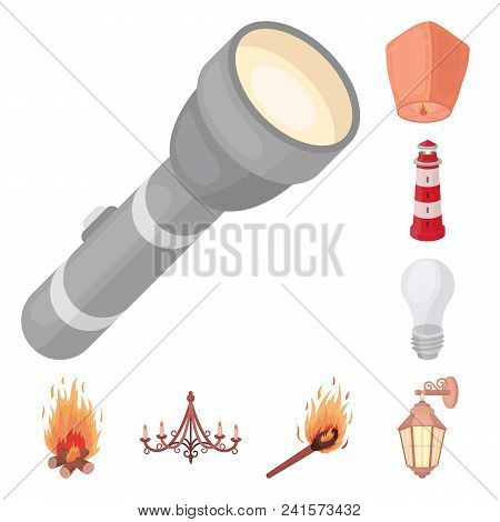 Light Source Cartoon Icons In Set Collection For Design. Light And Equipment Vector Symbol Stock  Il