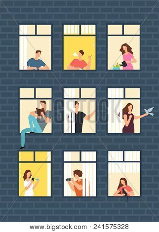 Neighbors Cartoon People In Apartment House Windows. Neighborhood Vector Concept. Building With Wind