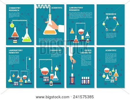 Chemistry Laboratory Testing. Pharmacy Processing And Science Medical Research Lab. Vector Book Cove