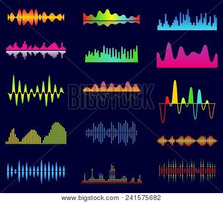 Music Equalizer, Audio Analog Waves, Studio Sound Frequency, Music Player Waveform, Sound Spectrum S