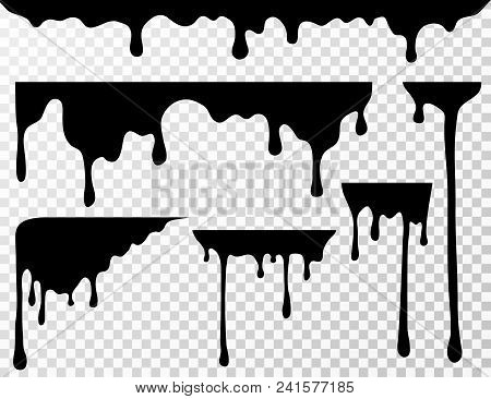 Black Dripping Oil Stain, Liquid Drips Or Paint Current Vector Ink Silhouettes Isolated. Illustratio