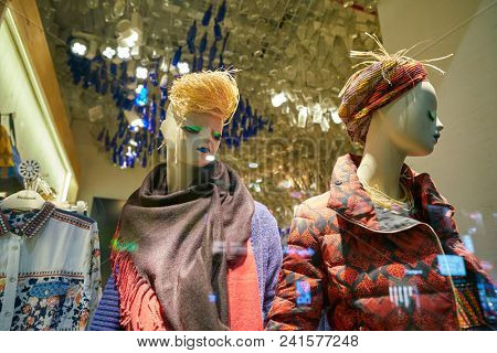 MILAN, ITALY - CIRCA NOVEMBER, 2018: shop window display of clothing at Desigual store in Milan, Italy.