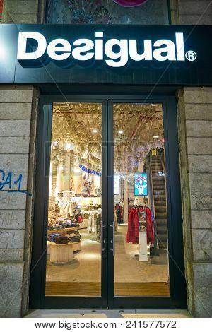 MILAN, ITALY - CIRCA NOVEMBER, 2018: doors at Desigual store in Milan, Italy.