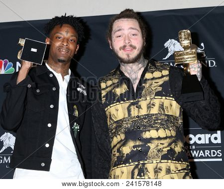 LAS VEGAS - MAY 20:  21 Savage, Post Malon at the 2018 Billboard Music Awards at MGM Grand Garden Arena on May 20, 2018 in Las Vegas, NV