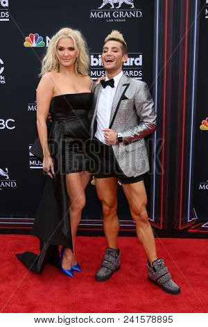 LAS VEGAS - MAY 20:  Erika Jayne, Frankie Grande at the 2018 Billboard Music Awards at MGM Grand Garden Arena on May 20, 2018 in Las Vegas, NV