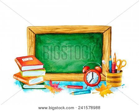 Watercolor illustration of a blackboard with school supplies