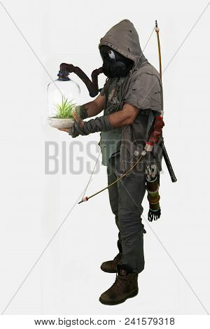Nuclear Post Apocalypse Survivors Concept With White Isolated Background