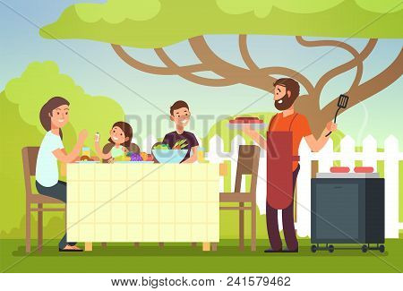 Happy Family Eating Barbecue Outdoor. Man, Woman And Kids Cooking And Grilling On Summer Holiday. Ba