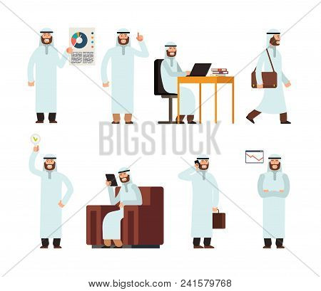 Arabic Man In Traditional Islamic Saudi Ethnic Clothes In Different Business Situations. Arab Vector