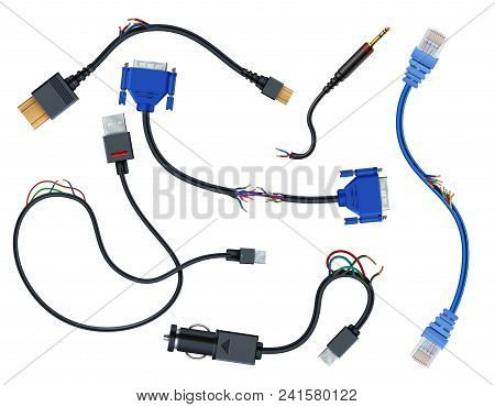 Damaged wires with plugs. Disconnect broken electric cables vector set isolated on white background. Wire and cable cut, vga and usb, sata outlet plug illustration poster